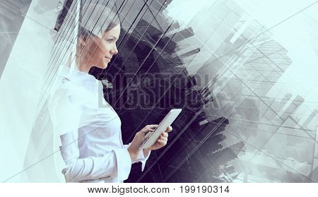 Elegant woman use tablet. Mixed media