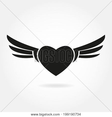 Heart with wings icon. Winged heart sign isolated on white background. Vector illustration.