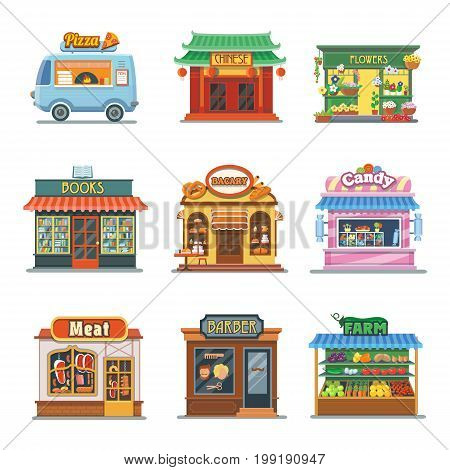 Set of nice showcases of shops. Pizza trailer, bakery, candy store, farm products, barbershop, meat shop, bookstore and chinese food, flower outlet. Flat illustration set.