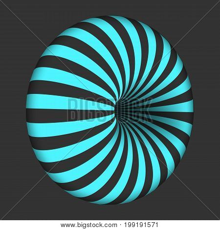 Illustration of Vector Spiral Optical Illusion Template. Spiral Twisted Vortex Bagel Shape