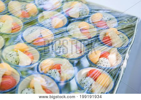 Canape Wrapped With Plastic Wrap Prepared For The Wedding