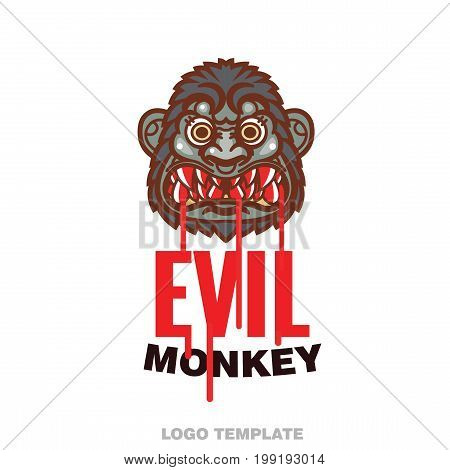 angry monkey head - vector illustration for mascot and tattoo or T-shirt graphic