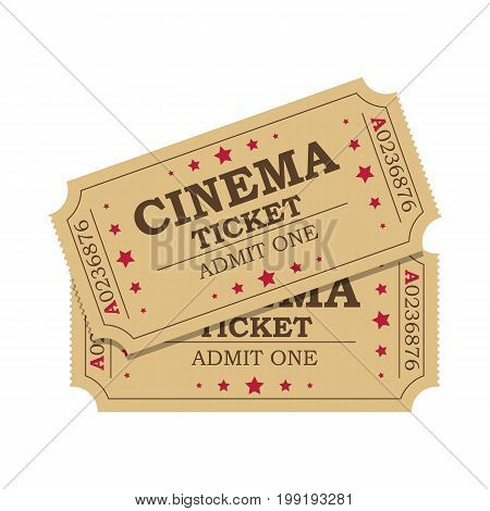 Retro cinema tickets icon on white background, Vector illustration in flat style