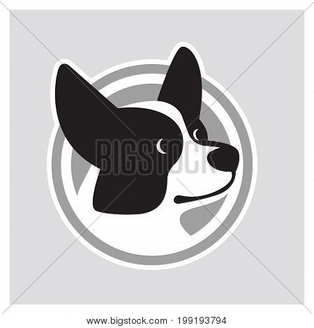 Black and white vector drawing of dog head of Welsh Corgi breed
