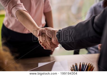 Working negotiations. Male and female shaking hands on business deal.