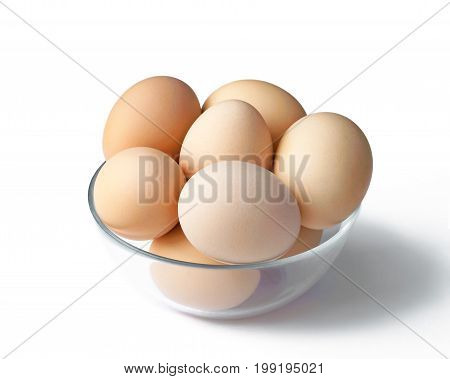 Fresh chicken eggs in a bowl with shade on white background