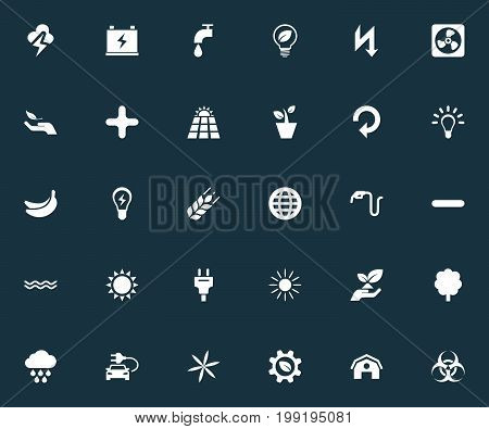 Elements Cloudburst, Supply, Houseplant And Other Synonyms Lightbulb, Cooler And Naval.  Vector Illustration Set Of Simple Ecology Icons.