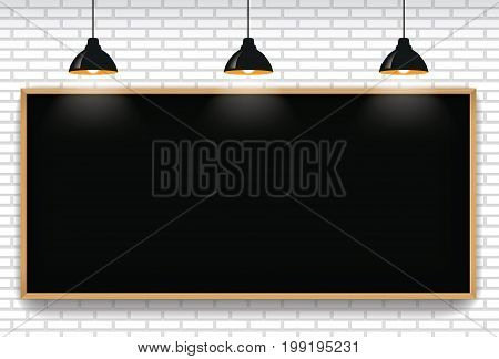 Blank blackboard in white brick wall background with 3 hanging light