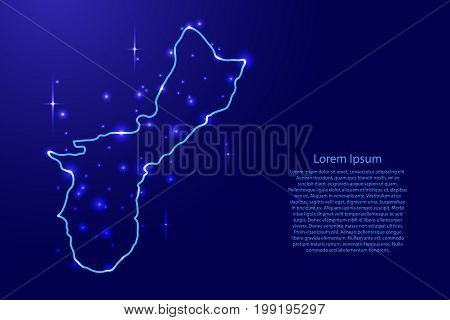 Map Territory of Guam from the contours network blue luminous space stars of vector illustration