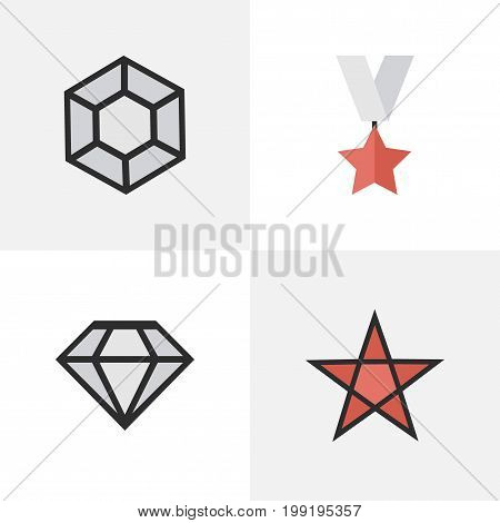 Elements First, Trophy, Brilliant And Other Synonyms Precious, Brilliant And Star.  Vector Illustration Set Of Simple Trophy Icons.