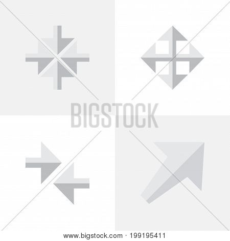 Elements Inside, Widen, Southwestward And Other Synonyms Inwardly, Arrow And Widen.  Vector Illustration Set Of Simple Indicator Icons.