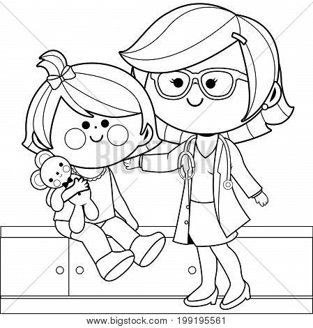 A female pediatrician examining a little girl. Black and white coloring page illustration