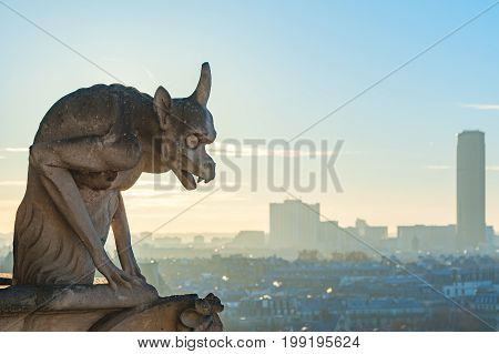Gargoyle looking at Paris aerial view with montparnasse tower in the background