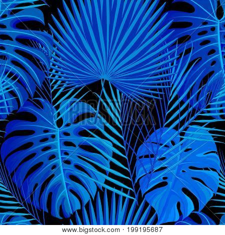 Seamless pattern with blue black colored tropical exotic palm leaves background. Fabric, wrapping paper print. Vector illustration stock vector.