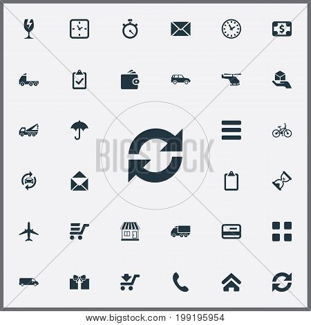 Elements Pay, Envelope, Home And Other Synonyms Debit, Stopwatch And Message.  Vector Illustration Set Of Simple Surrender Icons.