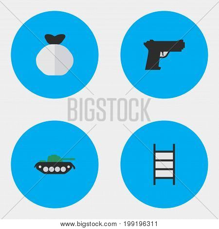 Elements Stairs, Weapon, Military And Other Synonyms Climbing, Gun And Shot.  Vector Illustration Set Of Simple Offense Icons.