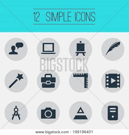 Elements Laptop, Photography, System Unit And Other Synonyms Project, Measurement And Ruler.  Vector Illustration Set Of Simple Design Icons.