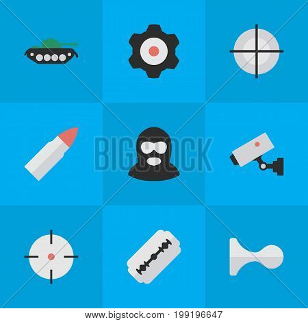 Elements Sniper, Supervision, Criminal And Other Synonyms Burglar, Deer And Blade.  Vector Illustration Set Of Simple Offense Icons.