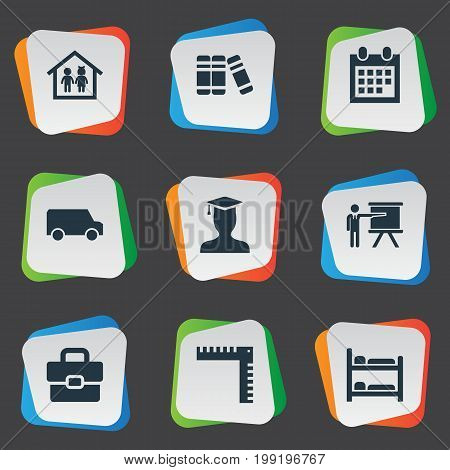 Elements Nursering Furniture, Pedagogue, Geometry And Other Synonyms Document, Bookstore And Handbag.  Vector Illustration Set Of Simple Knowledge Icons.