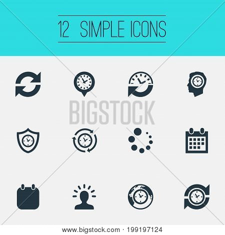 Elements Loading, Global Time, Term And Other Synonyms Loading, Administrator And Planner.  Vector Illustration Set Of Simple Administration Icons.