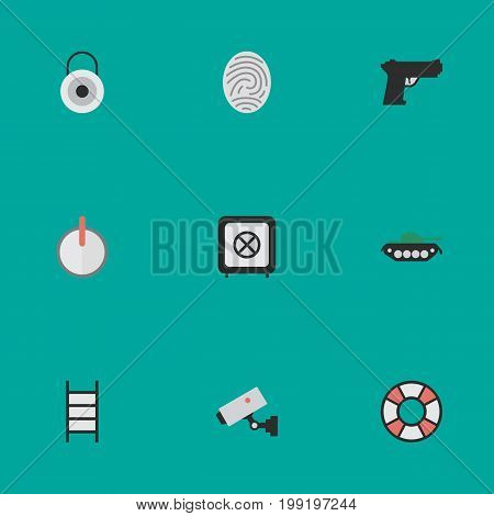 Elements Safe, Supervision, Lock And Other Synonyms Safe, Close And Weapon.  Vector Illustration Set Of Simple Offense Icons.