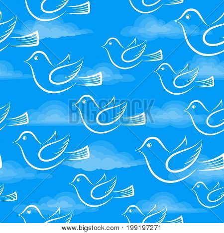 Seamless Background with White Cartoon Birds Flying in Blue Sky with Clouds, Tile Illustration for Your Design. Eps10, Contains Transparencies. Vector