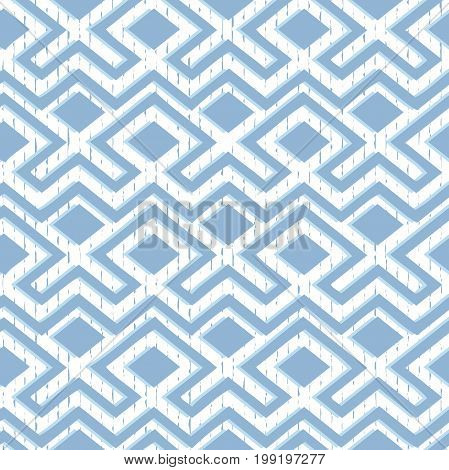 Maze tangled lines contemporary graphic.Vector seamless Blue and white pattern.