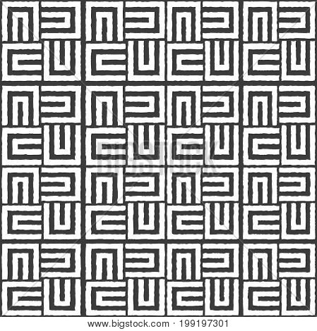 Repeating geometric stripes squares. Black and white
