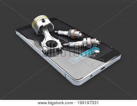 On The Phone Engine Piston And Spark Plugs, Isolated Blak, 3D Illustration