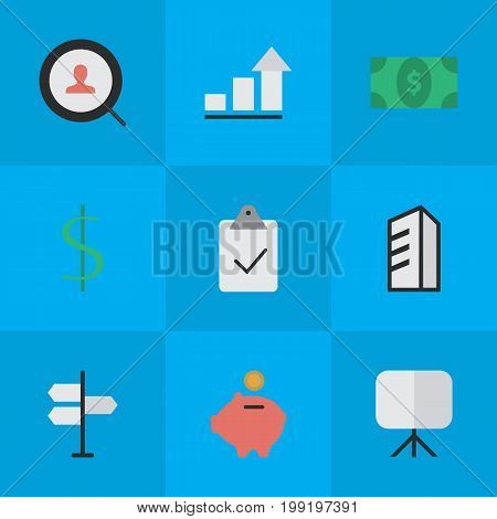 Elements Easel, Apartment, Done And Other Synonyms Bank, Greenback And Diagram.  Vector Illustration Set Of Simple Job Icons.