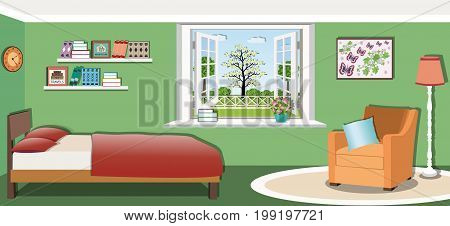 Cute bedroom interior design with comfortable furniture -  bed, armchair, floor lamp, bookshelves, pillows, picture and window. Flat style vector illustration.