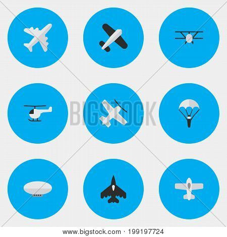Elements Aviation, Balloons, Flying Vehicle And Other Synonyms Copter, Balloons And Airship.  Vector Illustration Set Of Simple Airplane Icons.