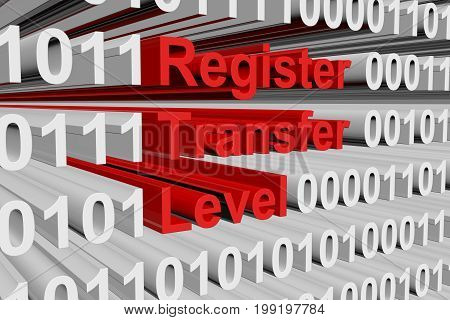 register transfer level in the form of binary code, 3D illustration