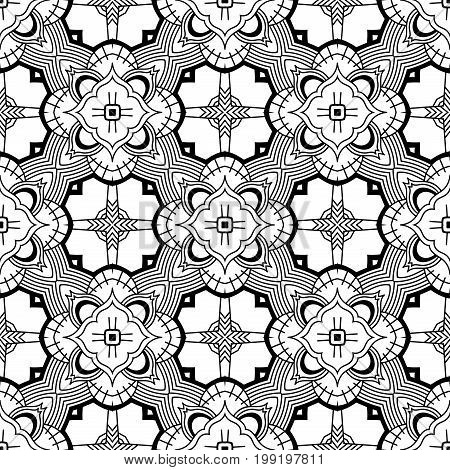 Seamless Abstract Hand Drawn Pattern. Square Monochrome Background. Black White Wallpaper