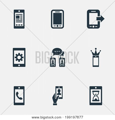 Elements Repair, Waiting, Missing Ring And Other Synonyms Tablet, Media And Settings.  Vector Illustration Set Of Simple Telephone Icons.