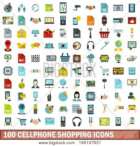 100 cellphone shopping icons set in flat style for any design vector illustration