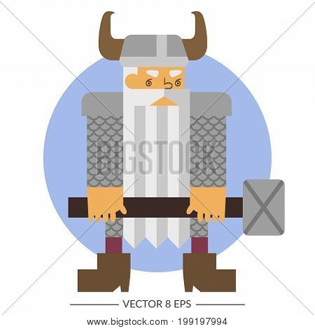 Vector. Flat style colorful fantasy warrior dwarf.