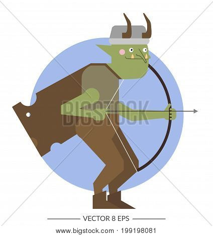 Vector. Flat style fantasy colorful armored monster.