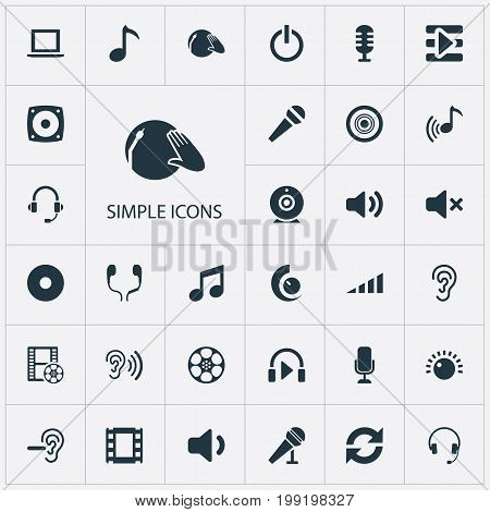 Elements Karaoke, Volume, Song And Other Synonyms Headphone, Tape And Earphones.  Vector Illustration Set Of Simple Play Icons.