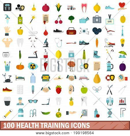 100 health training icons set in flat style for any design vector illustration