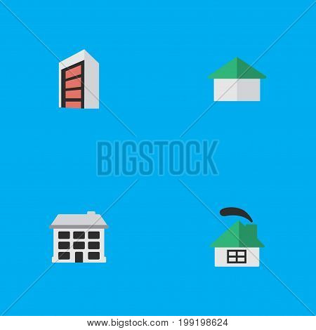 Elements Dwelling, Architecture, Construction And Other Synonyms House, Home And Building.  Vector Illustration Set Of Simple Real Icons.