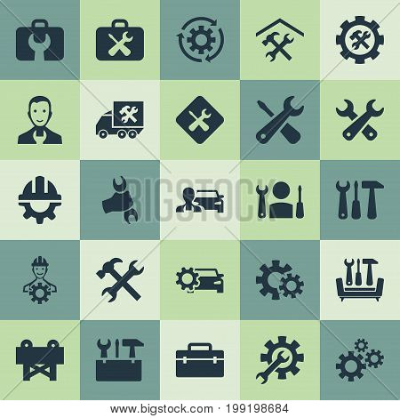 Elements Toolkit, Rotate, Handbag Synonyms Master, Furniture And Barrier.  Vector Illustration Set Of Simple Repairing Icons.