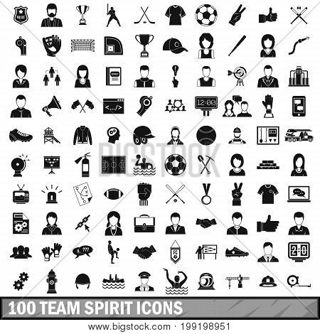 100 team spirit icons set in simple style for any design vector illustration