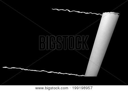 Rolled White Crumpled Paper Effect, With Blank Like Blackboard Background, Idea Education