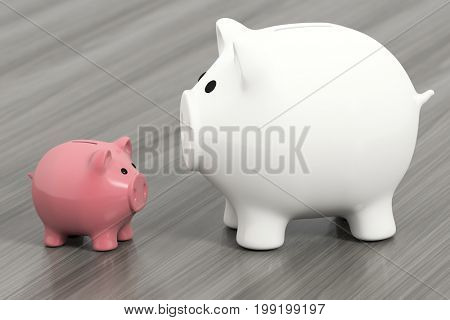 3d rendering of two piggy banks