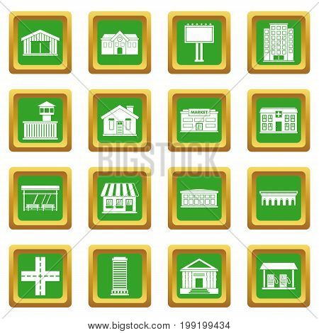 City infrastructure items icons set in green color isolated vector illustration for web and any design