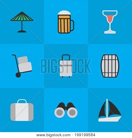 Elements Parasol, Baggage, Cask And Other Synonyms Umbrella, Cask And Suitcase.  Vector Illustration Set Of Simple Travel Icons.