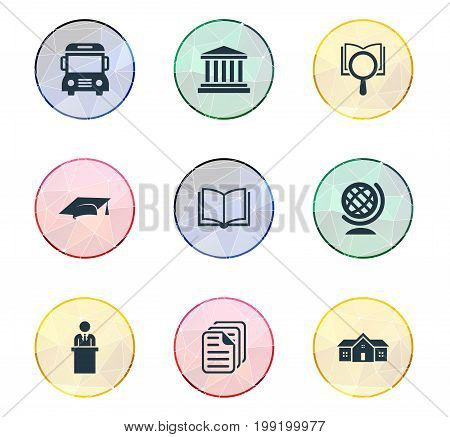 Elements Courthouse, Magnifier, Cap And Other Synonyms Research, Page And Lecture.  Vector Illustration Set Of Simple Education Icons.