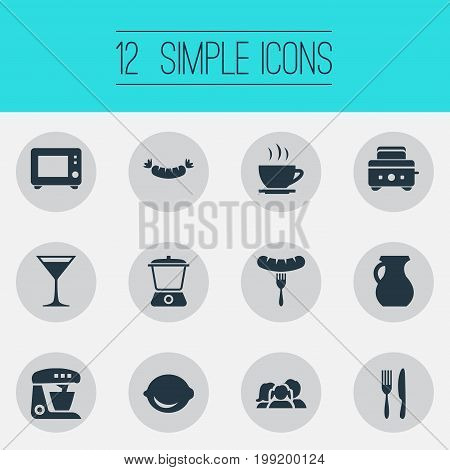 Elements Utencil, Domestic, Clay And Other Synonyms Bread, Aperitif And Vase.  Vector Illustration Set Of Simple Kitchen Icons.