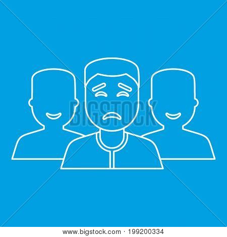 Community icon blue outline style isolated vector illustration. Thin line sign
